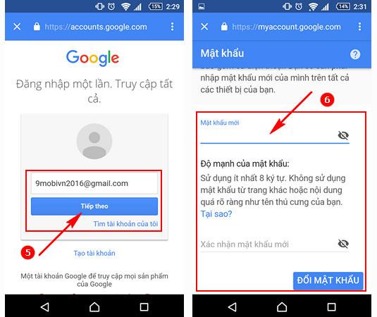 huong dan doi mat khau gmail