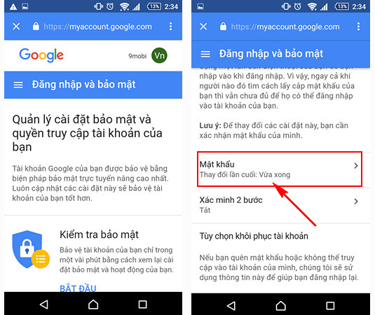 doi pass gmail tren android
