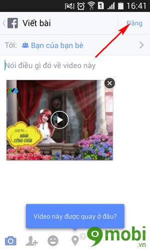 tai video len facebook tren oppo