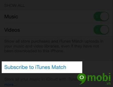 Kích hoạt iTunes Match trên iOS 8