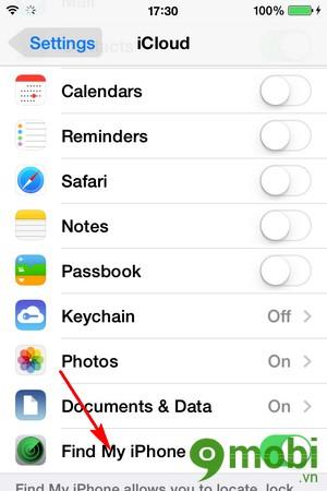 kích hoạt Find my iPhone trên iPhone 6