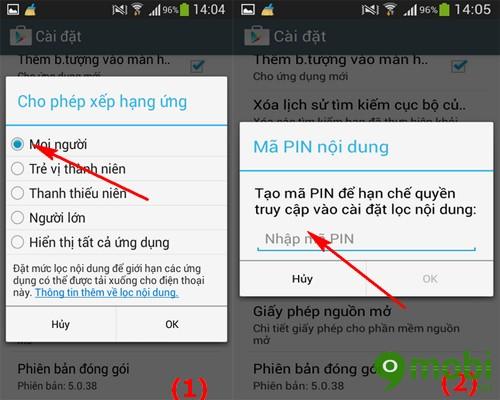 cài mã pin khi mua ứng dụng trên Google Play
