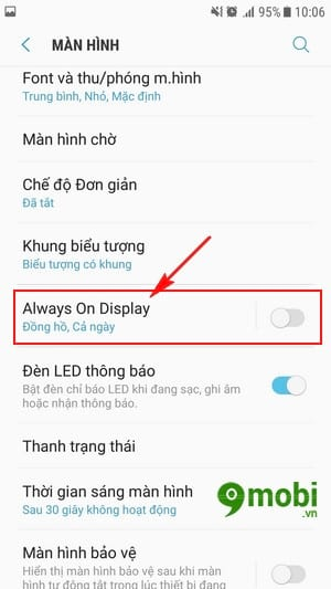bat always on tren dien thoai samsung da nang cap android 7 0 4