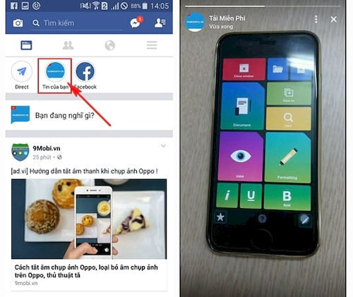 su dung facebook story tren dien thoai chen tin nhan tu huy sau 24h 7