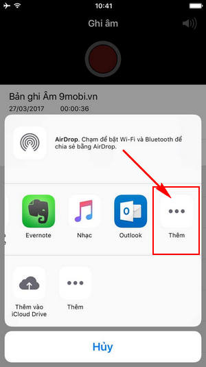 cach gui file ghi am tren iphone qua facebook email tin nhan 9
