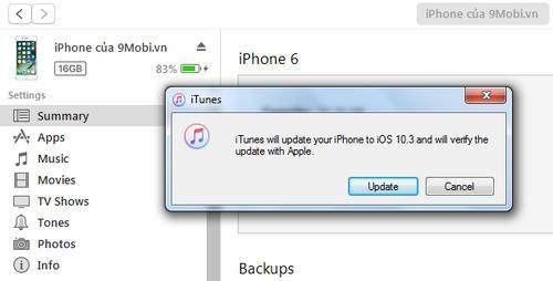 cach cap nhat ios 10 3 cho iphone ipad bang itunes ota 9