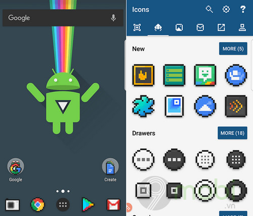 top icon pack dep nhat cho android 6