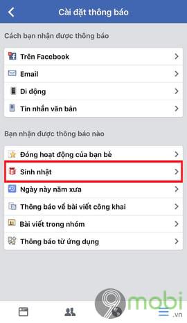 bat tat thong bao sinh nhat minh tren facebook tu dien thoai 6