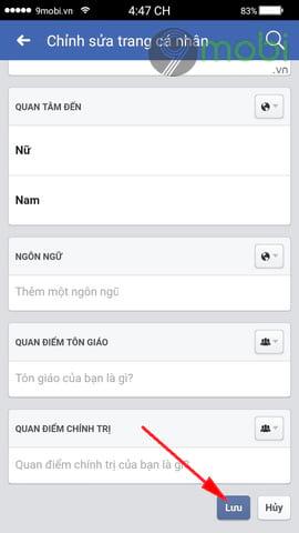 cach doi ngay sinh facebook tren dien thoai 9