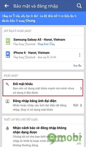 cach doi mat khau facebook tren dien thoai samsung 6
