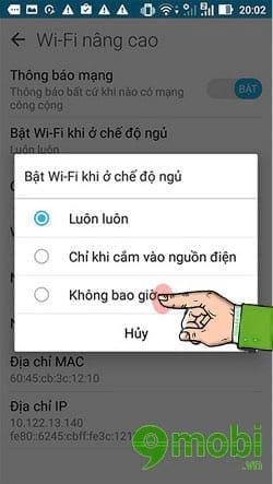 kich hoat che do tu dong tat wifi khi di ngu tren asus zenfone live 4