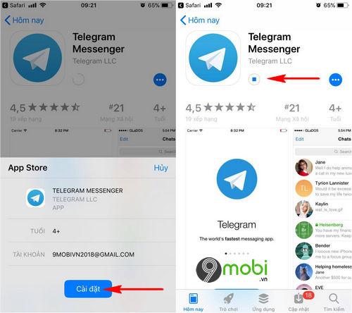 cach cai telegram cho dien thoai iphone android 7
