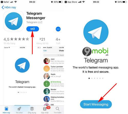 cach cai telegram cho dien thoai iphone android 8