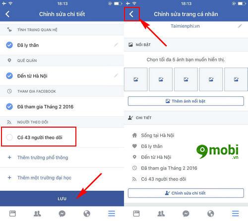 Cách hiển thị số người theo dõi trên Facebook của điện thoại