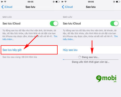 cach backup icloud iphone ipad 4