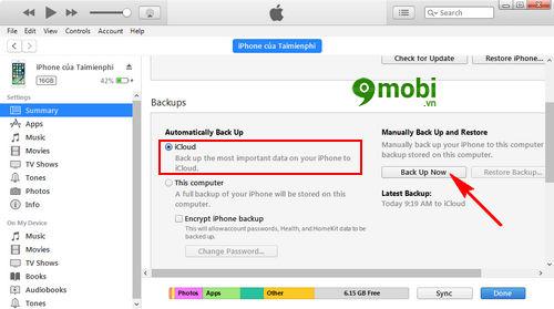 cach backup icloud iphone ipad 6