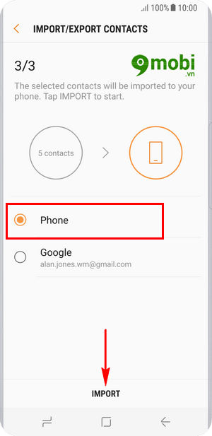 Chép danh bạ từ Sim vào máy trên Samsung S8