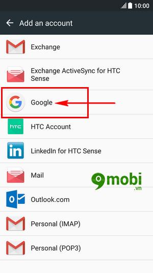 them tai khoan google tren htc 10 dang nhap gmail 6