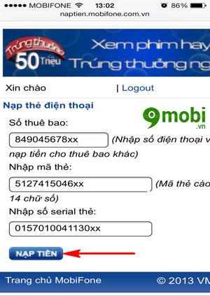 cach nap the mobifone nap card mobifone 5