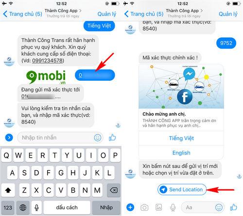 cach goi taxi bang facebook messenger tren dien thoai 5