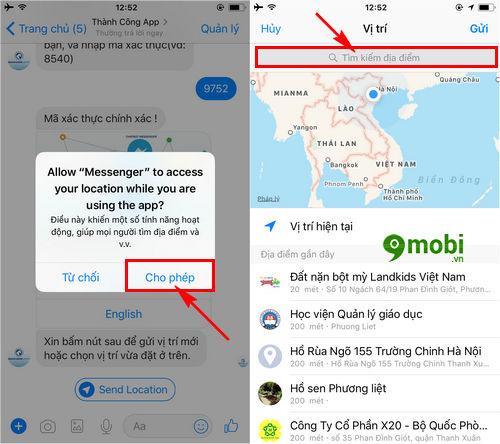 cach goi taxi bang facebook messenger tren dien thoai 6