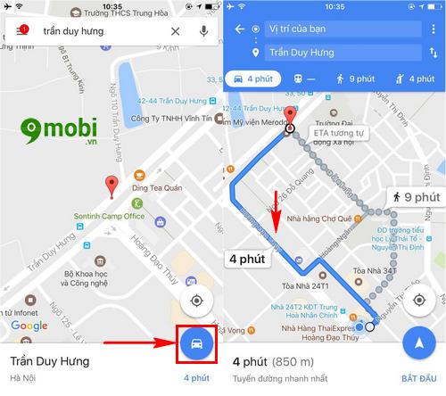 xem huong dan chi duong tren man hinh khoa iphone bang google maps 3