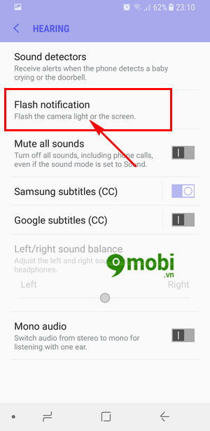 bat den flash thong bao tren samsung s8 6
