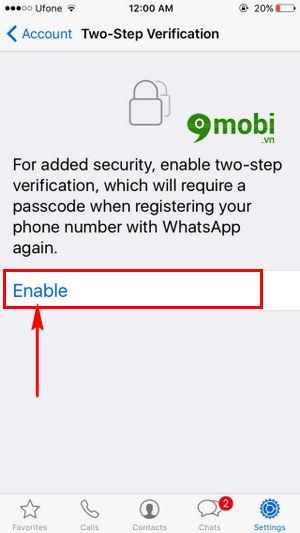 bat tat xac minh 2 buoc whatsapp tren iphone 4