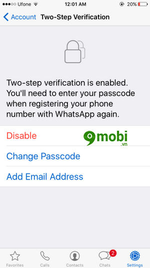 bat tat xac minh 2 buoc whatsapp tren iphone 6