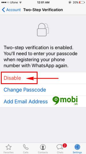 bat tat xac minh 2 buoc whatsapp tren iphone 7