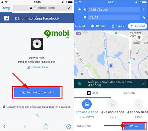 dat xe uber bang google maps tren dien thoai 6
