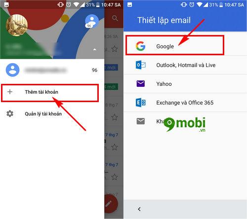 cach dang nhap gmail tren dien thoai htc 3