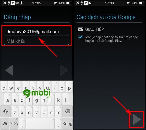 Hướng dẫn đăng nhập Gmail trên điện thoại Oppo r5, joy, neo 5, F1s