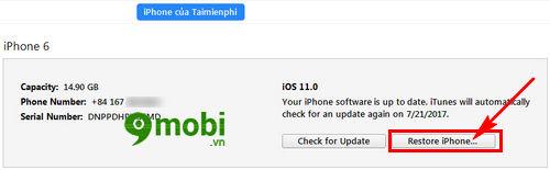 huong dan restore iphone bang itunes dung cach 3