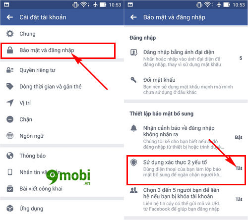 xac minh 2 buoc facebook tren dien thoai iphone