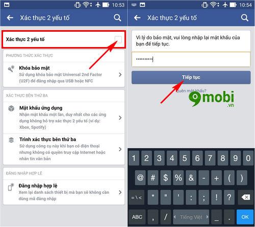 xác minh 2 bước Facebook trên điện thoại 3