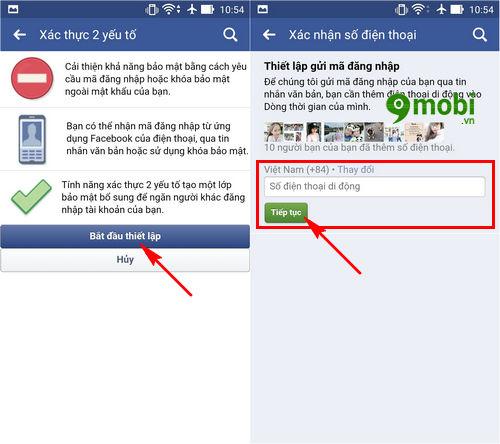 xác minh 2 bước Facebook trên điện thoại