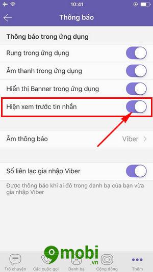 bat tat xem truoc tin nhan tren viber cho iphone android 7