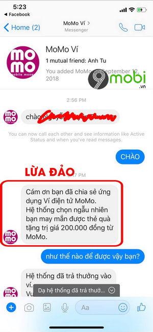 Cách nhận biết Momo giả mạo nhắn tin
