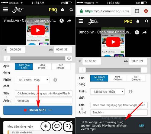 Hướng dẫn tải nhạc MP3 từ Youtube cho điện thoại Android, iPhone