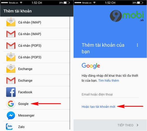 cach tao tai khoan gmail tren dien thoai android 3