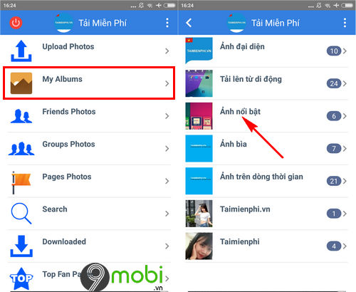 cach tai albums anh tren facebook ve dien thoai android iphone 3