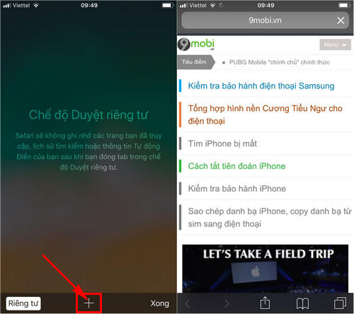 cach vao web an danh cac trinh duyet tren iphone 3