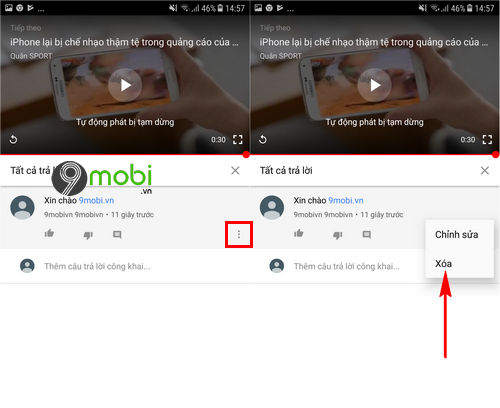 cach xoa comment youtube tren dien thoai android iphone 3