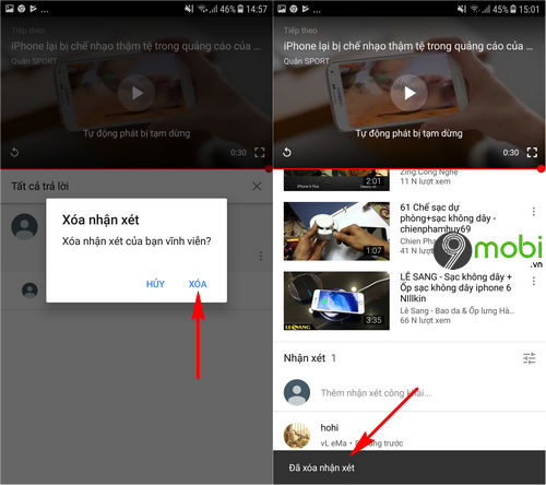 cach xoa comment youtube tren dien thoai android iphone 4