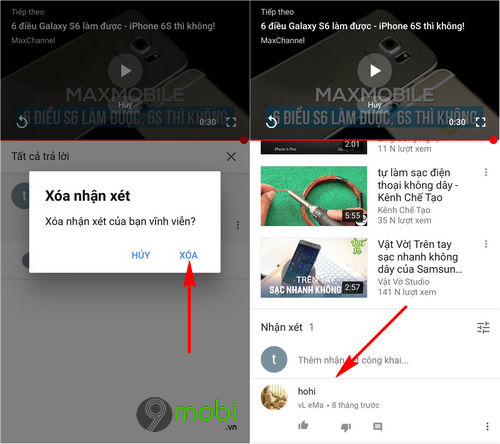 cach xoa comment youtube tren dien thoai android iphone 7