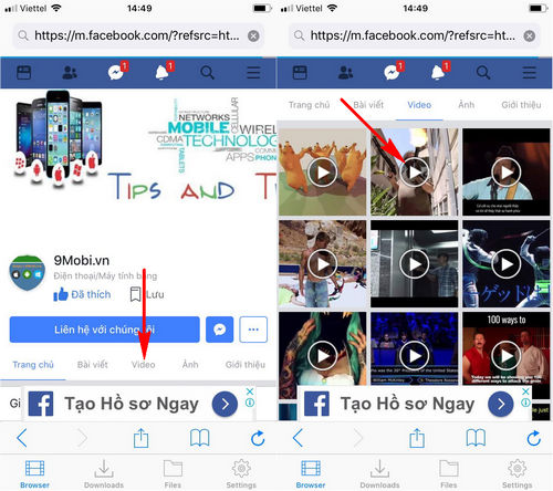 cach tai video tren facebook ios 3