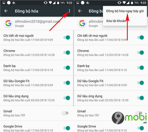 cach dong bo danh ba len gmail dien thoai android 4