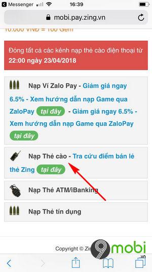cach nap the crossfire legends bang the dien thoai nap gem cf mobile 4