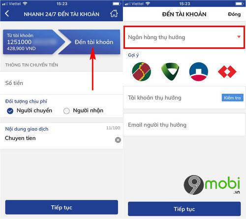 cach chuyen tien ngan hang bidv smart banking tren dien thoai 8